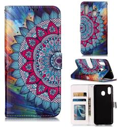 Mandala Flower 3D Relief Oil PU Leather Wallet Case for Samsung Galaxy A20