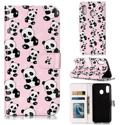 Cute Panda 3D Relief Oil PU Leather Wallet Case for Samsung Galaxy A20