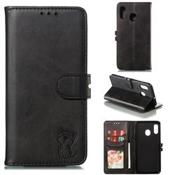 Embossing Happy Cat Leather Wallet Case for Samsung Galaxy A20 - Black