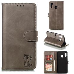 Embossing Happy Cat Leather Wallet Case for Samsung Galaxy A20 - Gray