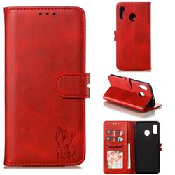 Embossing Happy Cat Leather Wallet Case for Samsung Galaxy A20 - Red