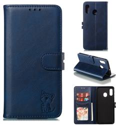Embossing Happy Cat Leather Wallet Case for Samsung Galaxy A20 - Blue