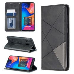 Prismatic Slim Magnetic Sucking Stitching Wallet Flip Cover for Samsung Galaxy A20 - Black