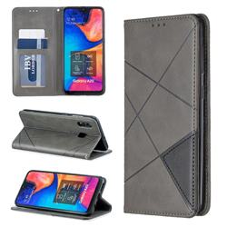 Prismatic Slim Magnetic Sucking Stitching Wallet Flip Cover for Samsung Galaxy A20 - Gray