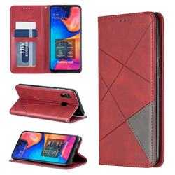 Prismatic Slim Magnetic Sucking Stitching Wallet Flip Cover for Samsung Galaxy A20 - Red