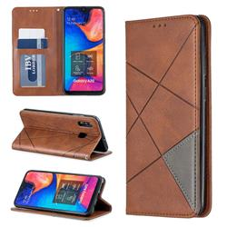 Prismatic Slim Magnetic Sucking Stitching Wallet Flip Cover for Samsung Galaxy A20 - Brown