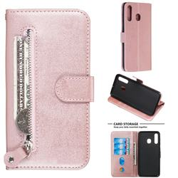 Retro Luxury Zipper Leather Phone Wallet Case for Samsung Galaxy A20 - Pink
