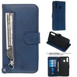 Retro Luxury Zipper Leather Phone Wallet Case for Samsung Galaxy A20 - Blue