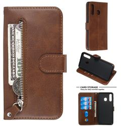 Retro Luxury Zipper Leather Phone Wallet Case for Samsung Galaxy A20 - Brown