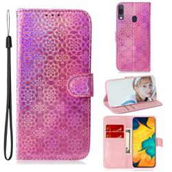 Laser Circle Shining Leather Wallet Phone Case for Samsung Galaxy A20 - Pink