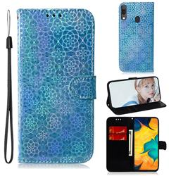 Laser Circle Shining Leather Wallet Phone Case for Samsung Galaxy A20 - Blue