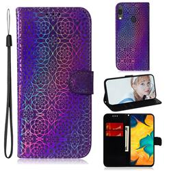 Laser Circle Shining Leather Wallet Phone Case for Samsung Galaxy A20 - Purple