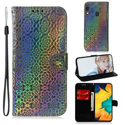 Laser Circle Shining Leather Wallet Phone Case for Samsung Galaxy A20 - Silver