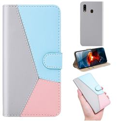Tricolour Stitching Wallet Flip Cover for Samsung Galaxy A20 - Gray