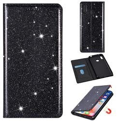 Ultra Slim Glitter Powder Magnetic Automatic Suction Leather Wallet Case for Samsung Galaxy A20 - Black
