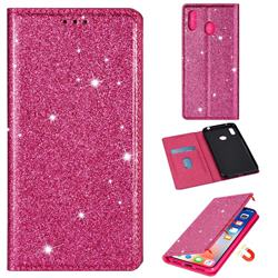 Ultra Slim Glitter Powder Magnetic Automatic Suction Leather Wallet Case for Samsung Galaxy A20 - Rose Red