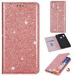 Ultra Slim Glitter Powder Magnetic Automatic Suction Leather Wallet Case for Samsung Galaxy A20 - Rose Gold