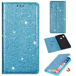 Ultra Slim Glitter Powder Magnetic Automatic Suction Leather Wallet Case for Samsung Galaxy A20 - Blue