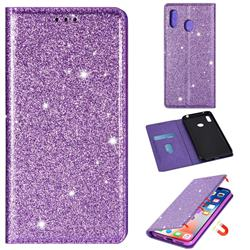 Ultra Slim Glitter Powder Magnetic Automatic Suction Leather Wallet Case for Samsung Galaxy A20 - Purple