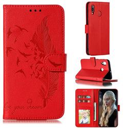 Intricate Embossing Lychee Feather Bird Leather Wallet Case for Samsung Galaxy A20 - Red