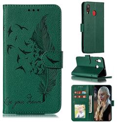 Intricate Embossing Lychee Feather Bird Leather Wallet Case for Samsung Galaxy A20 - Green