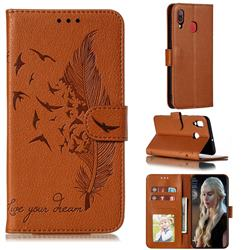 Intricate Embossing Lychee Feather Bird Leather Wallet Case for Samsung Galaxy A20 - Brown