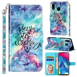Blue Starry Sky 3D Leather Phone Holster Wallet Case for Samsung Galaxy A20