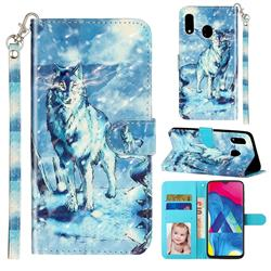 Snow Wolf 3D Leather Phone Holster Wallet Case for Samsung Galaxy A20