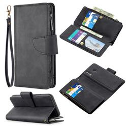 Binfen Color BF02 Sensory Buckle Zipper Multifunction Leather Phone Wallet for Samsung Galaxy A20 - Black