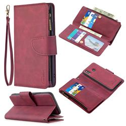Binfen Color BF02 Sensory Buckle Zipper Multifunction Leather Phone Wallet for Samsung Galaxy A20 - Red Wine