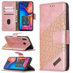 BinfenColor BF04 Color Block Stitching Crocodile Leather Case Cover for Samsung Galaxy A20 - Rose Gold
