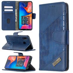 BinfenColor BF04 Color Block Stitching Crocodile Leather Case Cover for Samsung Galaxy A20 - Blue
