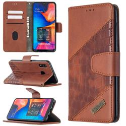 BinfenColor BF04 Color Block Stitching Crocodile Leather Case Cover for Samsung Galaxy A20 - Brown
