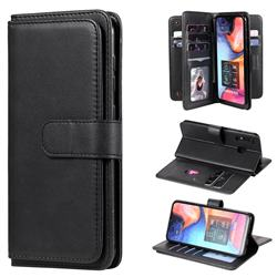 Multi-function Ten Card Slots and Photo Frame PU Leather Wallet Phone Case Cover for Samsung Galaxy A20 - Black