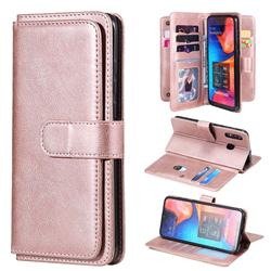 Multi-function Ten Card Slots and Photo Frame PU Leather Wallet Phone Case Cover for Samsung Galaxy A20 - Rose Gold