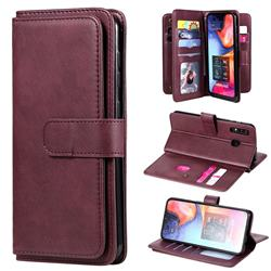 Multi-function Ten Card Slots and Photo Frame PU Leather Wallet Phone Case Cover for Samsung Galaxy A20 - Claret