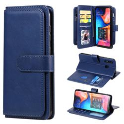 Multi-function Ten Card Slots and Photo Frame PU Leather Wallet Phone Case Cover for Samsung Galaxy A20 - Dark Blue