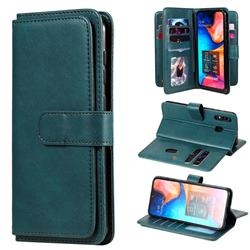 Multi-function Ten Card Slots and Photo Frame PU Leather Wallet Phone Case Cover for Samsung Galaxy A20 - Dark Green