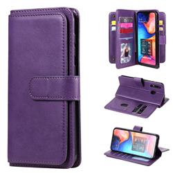Multi-function Ten Card Slots and Photo Frame PU Leather Wallet Phone Case Cover for Samsung Galaxy A20 - Violet