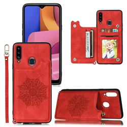 Luxury Mandala Multi-function Magnetic Card Slots Stand Leather Back Cover for Samsung Galaxy A20 - Red