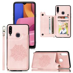 Luxury Mandala Multi-function Magnetic Card Slots Stand Leather Back Cover for Samsung Galaxy A20 - Rose Gold