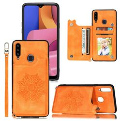 Luxury Mandala Multi-function Magnetic Card Slots Stand Leather Back Cover for Samsung Galaxy A20 - Yellow