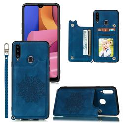 Luxury Mandala Multi-function Magnetic Card Slots Stand Leather Back Cover for Samsung Galaxy A20 - Blue
