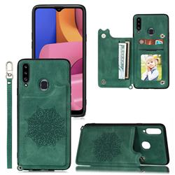 Luxury Mandala Multi-function Magnetic Card Slots Stand Leather Back Cover for Samsung Galaxy A20 - Green