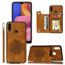Luxury Mandala Multi-function Magnetic Card Slots Stand Leather Back Cover for Samsung Galaxy A20 - Brown