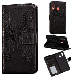 Intricate Embossing Vivid Butterfly Leather Wallet Case for Samsung Galaxy A20 - Black