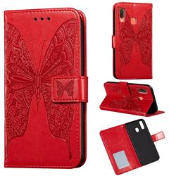 Intricate Embossing Vivid Butterfly Leather Wallet Case for Samsung Galaxy A20 - Red