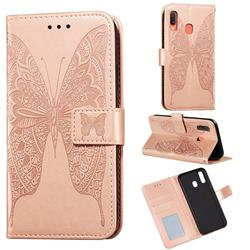 Intricate Embossing Vivid Butterfly Leather Wallet Case for Samsung Galaxy A20 - Rose Gold