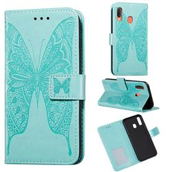 Intricate Embossing Vivid Butterfly Leather Wallet Case for Samsung Galaxy A20 - Green