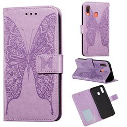 Intricate Embossing Vivid Butterfly Leather Wallet Case for Samsung Galaxy A20 - Purple